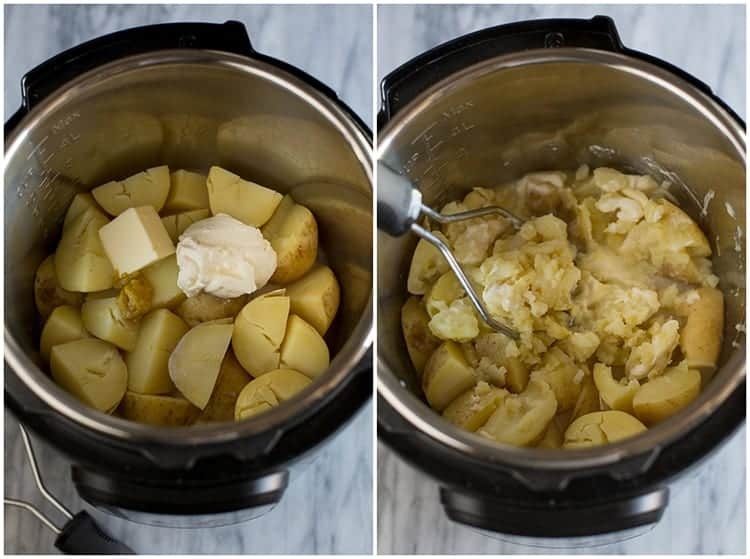 An overhead photo of the inside of an instant pot with cooked yellow potatoes, butter, sour cream, chicken buollion, and milk, next to another overhead photo of the mixture being mashed with a potato masher.