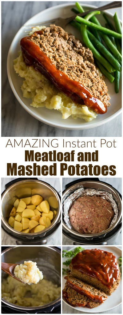 This AMAZING Instant Pot Meatloaf is one of our family's favorite easy instant pot dinners! It's made with ground beef and you can even add potatoes to make mashed potatoes in the instant pot at the same time!#instantpot #easy #best #dinner  #meatloafwithmashedpotatoes #instantpotmeatloaf #meatloafrecipe #kidfriendly