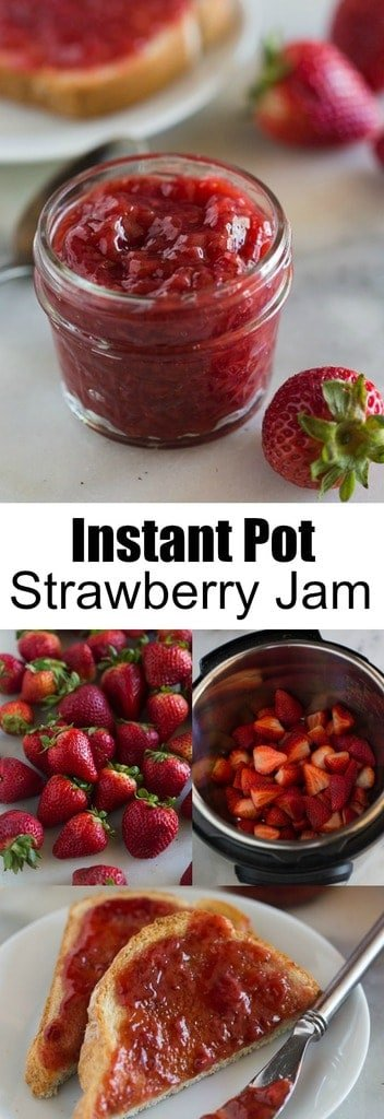 This amazing Instant Pot Strawberry Jam recipe uses just four simple ingredients (no fruit pectin needed!) and comes together in less than 30 minutes. Making homemade jam has never been simpler or easier, thanks to the Instant Pot pressure cooker!  #instantpot #jam #strawberryjam #homemade #easy #best #pressurecooker #strawberry #freezer #withoutpectin #smallbatch