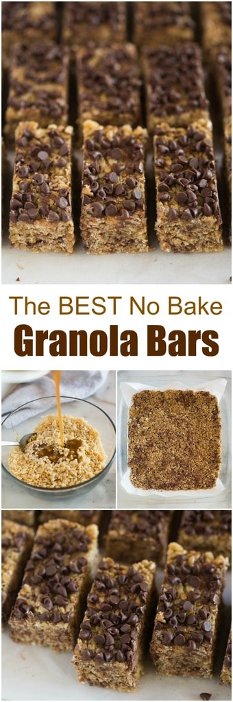 Thick and chewy No Bake Granola Bars that wont fall apart. These delicious homemade granola bars are easily adaptable to includeyour favorite add-ins, like chocolate chips, nuts, dried fruit, coconut and peanut butter! #nobake #granola #granolabars #snack #healthy #healthysnack #homemade #chewy #easy #best #forkids