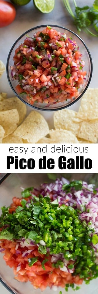 Everyone loves this easy Pico de Gallo recipe, made in just 10 minutes with fresh tomatoes, cilantro, red onion, and jalapeño. The best topping for all of your Mexican food favorites. #picodegallo #Mexican #easy #recipe #authentic #salsa #receta #best #healthy