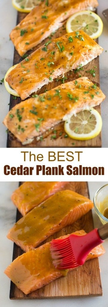 Cedar Plank Salmon with brown sugar and dijon glaze that you can cook on the grill or in the oven. This delicious (and EASY) salmon recipe belongs in a restaurant and is sure to WOW your dinner guests. #salmon #grilled #baked #cedarplank #brownsugar #mustard #dijon #easy #best #dinner