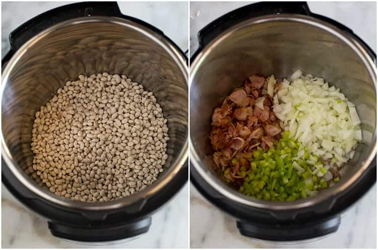 Process photos for making baked beans in the instant pot including an overhead photo of an instant pot with dry beans and water in it, next to another photo of bacon, onion and green bell pepper added to the pot.