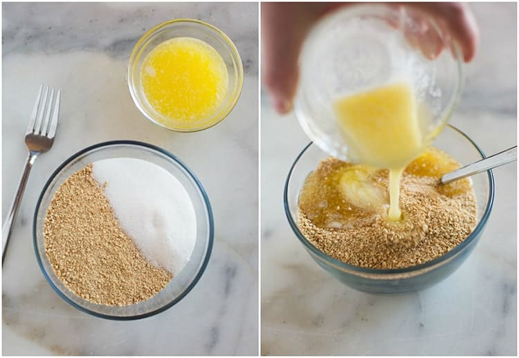 A photo of two clear glass bowls with the ingredients for a homemade graham cracker crust including graham cracker crumbs, sugar, and melted butter with a fork to mix everything together, next to another photo of melted butter being poured into a bowl of graham cracker crumbs.