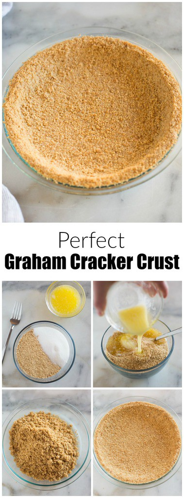 You'll never buy a store-made graham cracker crust again, with this easy and delicious homemade Graham Cracker Crust recipe! Just three ingredients and 15 minutes to make a perfect tender crust. #piecrust #nobake #grahamcracker #homemade #easy #best #dessert #pie