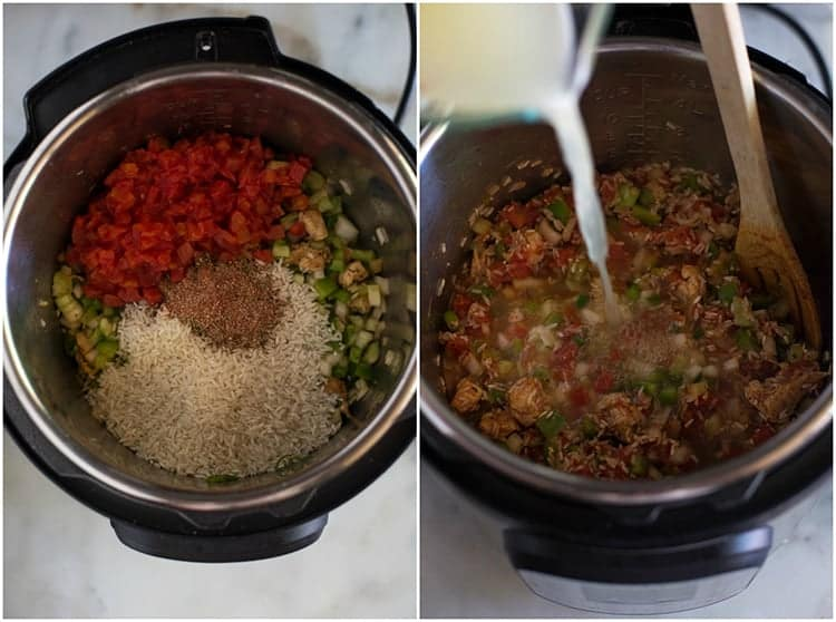 Process photos for making jambalaya in the instant pot including a photo of the veggies, uncooked rice and diced tomatoes in the pot and another photo with the ingredients stirred together and chicken broth being poured into the pot.