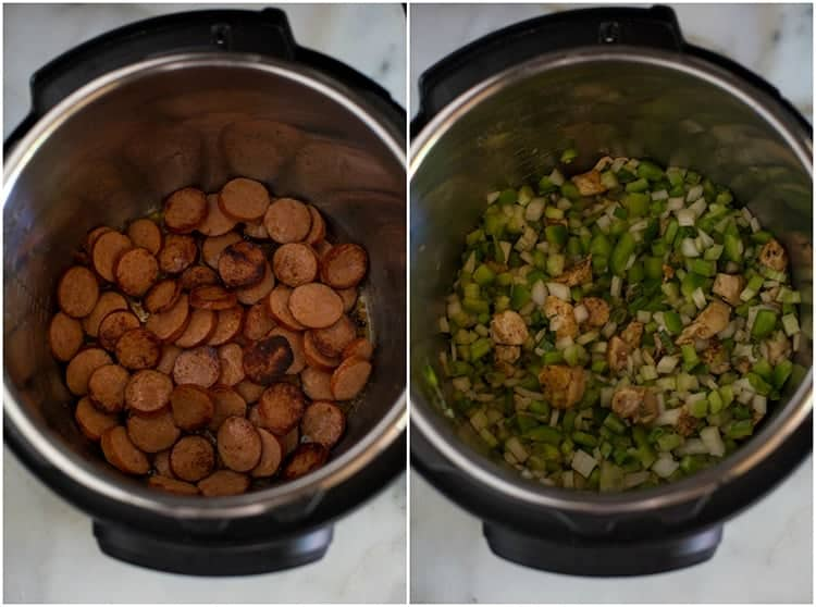 Side by side photos of an instant pot with one photo of browned sausages in the bottom of the pot and the other photo with veggies and chicken added the the instant pot.