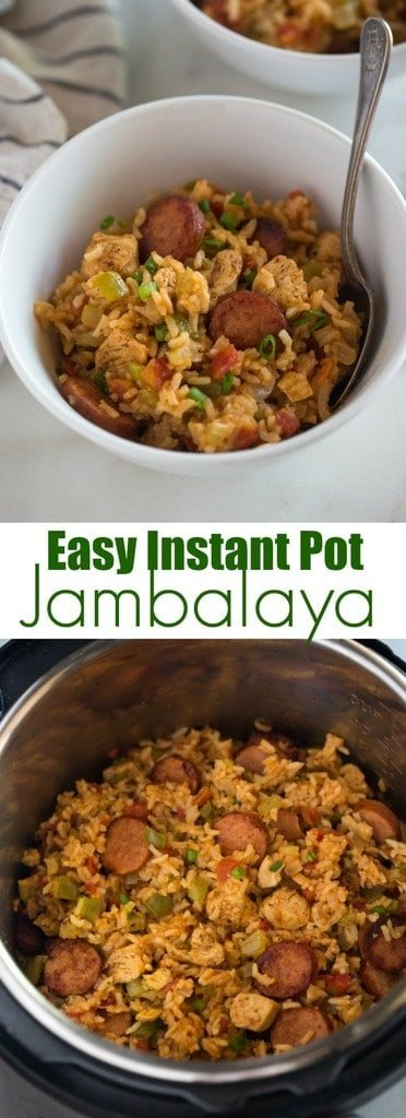 Instant Pot Chicken and Sausage Jambalaya made with andouille sausage, chicken, uncooked rice, bell pepper, onion, celery and spices, cooked in just one pan, for an easy dinner everyone will love. #recipes #jambalaya #instantpot #chicken #pressurecooker #cajun #creole #dinner #easy #best