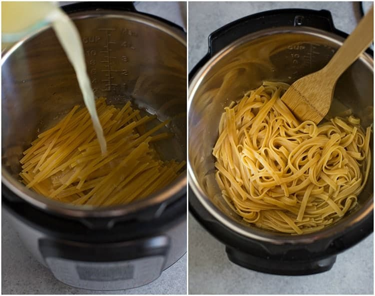 Process photos for cooking fettuccine noodles in the instant pot including a photo of chicken broth being poured over the noddles in the pot, next to another photo of the cooked pasta in the pot, with a wooden spoon.