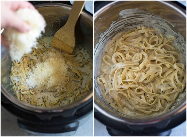 Shredded parmesan cheese added to the instant pot with a wooden spoon in it, next to another photo of the cooked fettuccine alfredo in the instant pot, ready to eat.