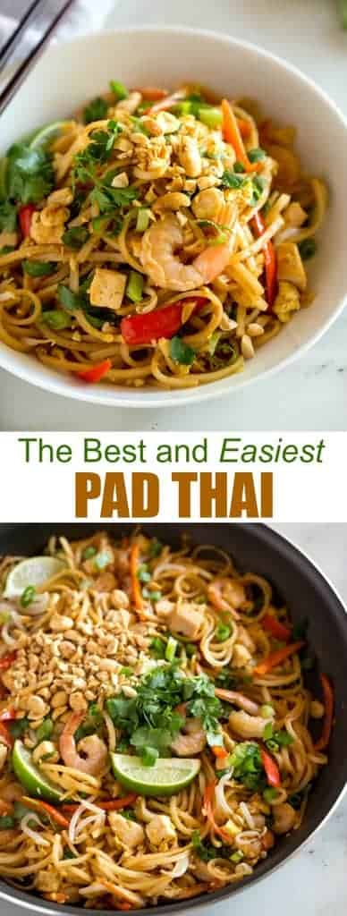This amazing Pad Thai recipe is easy, approachable and can be made in under 30 minutes, It starts with fresh ingredients including rice noodles, chicken, shrimp, tofu, cilantro, bean sprouts, peanuts and scrambled eggs tossed in a delicious homemade pad thai sauce that is so good it tastes like it came from your favorite Thai restaurant. #padthai #thai #ricenoodles #easy #authentic #shrimp #chicken #tofu #vegetarian
