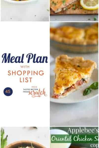 Week 45 Meal Plan and Printable Shopping List