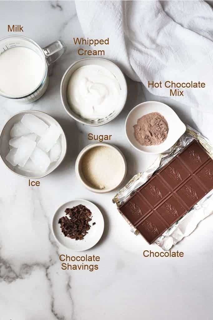 The ingredients needs to Frozen Hot Chocolate.