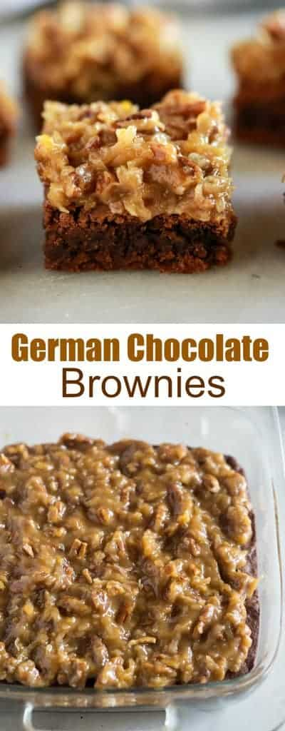 This German Chocolate Brownie recipe is so easy to make from scratch and is the perfect mix of chocolate brownie, coconut, chopped pecans, and all the caramel goodness.  #easy #best #germanchocolate #recipe #tastesbetterfromscratch