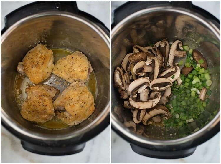 Process photos for making chicken marsala in the instant pot including browning the chicken thighs, and then sautéing mushrooms and green onion in the pot.
