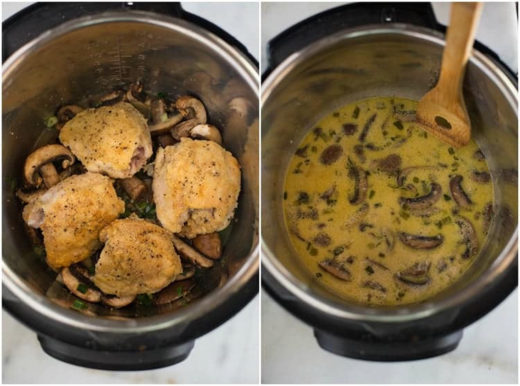 An instant pot with mushroom, green onion and chicken to make chicken marsala, next to another photo of the instant with the sauce for chicken marsala.
