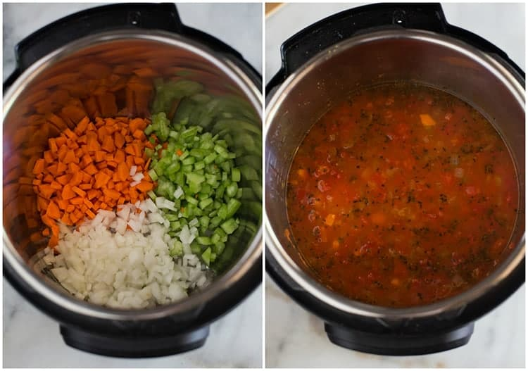 Chopped carrots, celery and onion in the bottom of the instant pot next to another photo of the instant pot mixture with chicken broth, diced tomatoes and spices added to it.