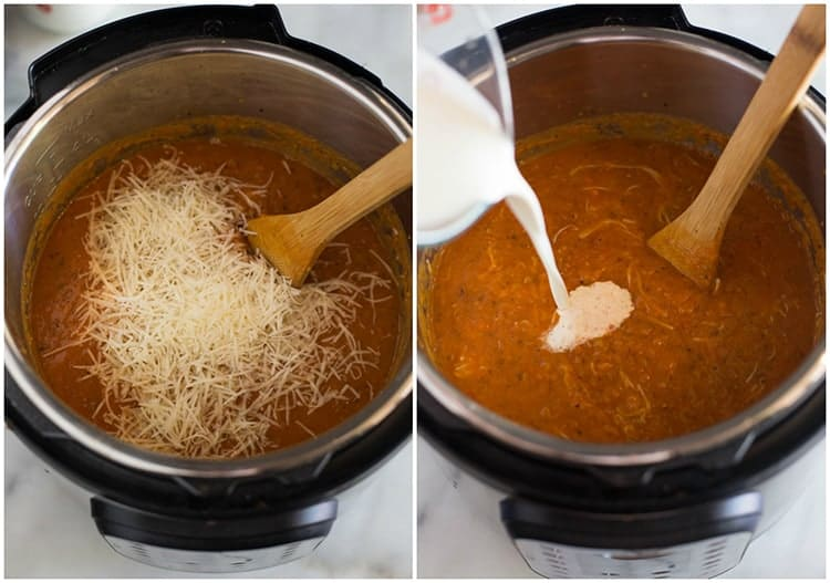 Tomato basil soup in the instant pot with parmesan cheese and heavy cream added to the pot.
