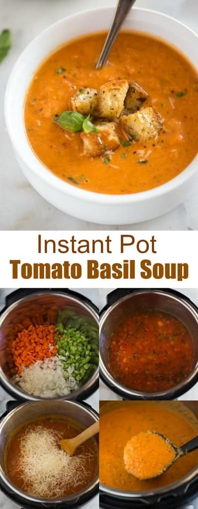 Your family will go nuts for this creamy Instant Pot Tomato Basil Soup with parmesan cheese, that's loaded with veggies. It's absolutely delicious, full of flavor and has the perfect thick and smooth texture. #instantpot #soup #tomatobasil #parmesan #best #easy