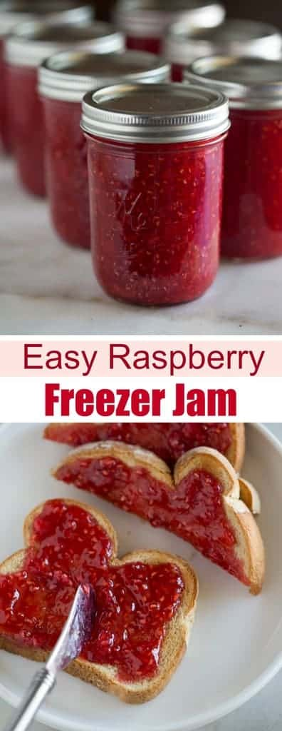 The BEST homemade raspberry jam that requires just four simple ingredients and will last in the freezer for up to one year! #jam #pectin #freezerjam #raspberry #easy #best #recipe #surejell #howtomake #canning