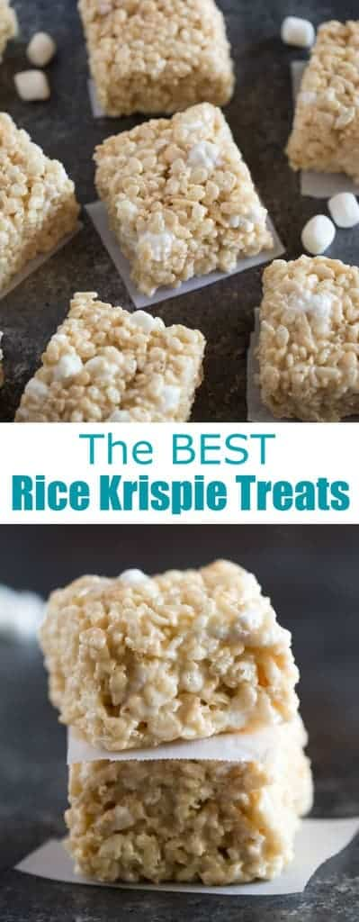 The BEST recipe for thick, chewy, gooey, rice krispie treats that put the old