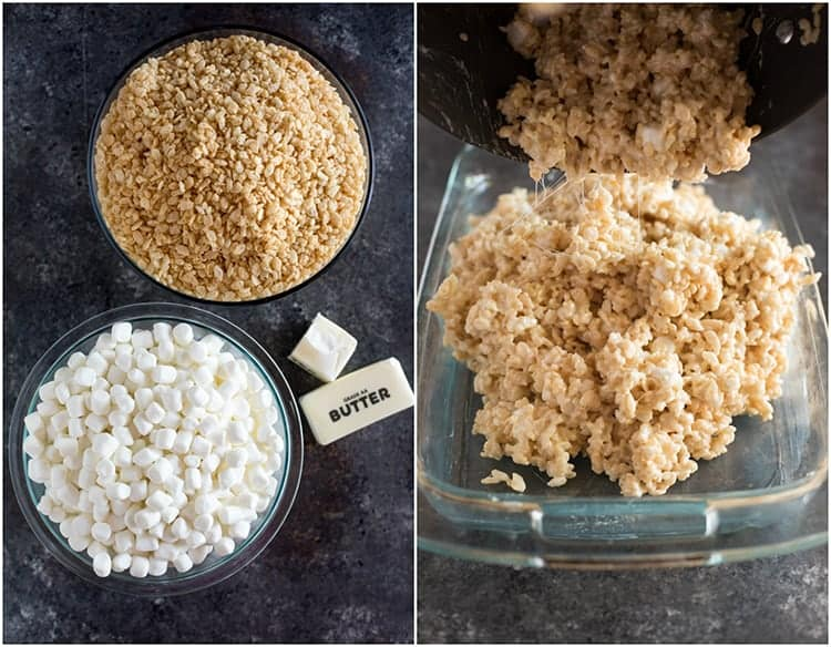 Overhead photo of the ingredients needed to make rice krispie treats, including butter, rice krispies cereal and marshmallows, next to another photo of the gooey rice krispies mixture being poured into a glass pan.