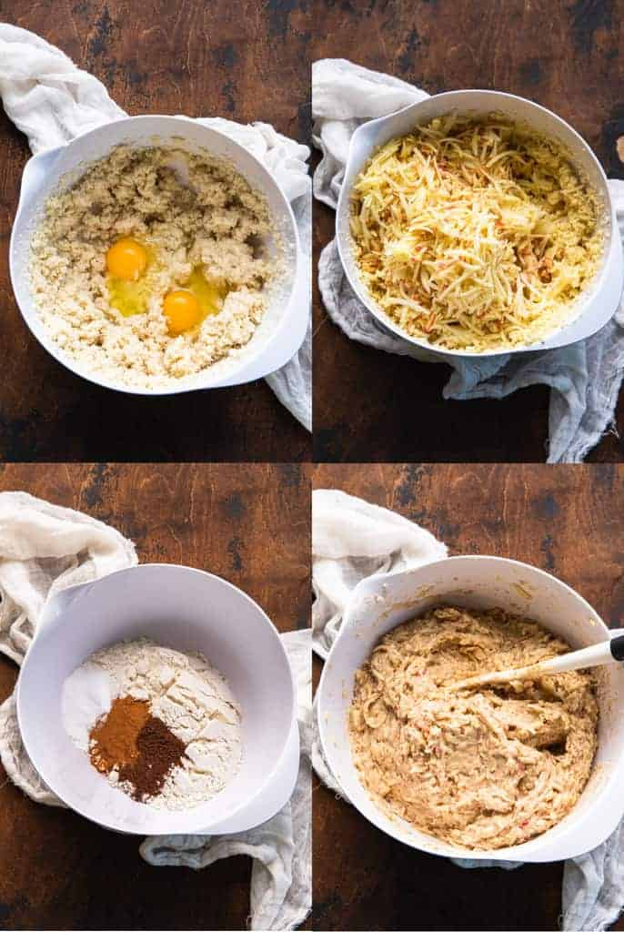 Four process photos for making apple cake batter in a mixing bowl.