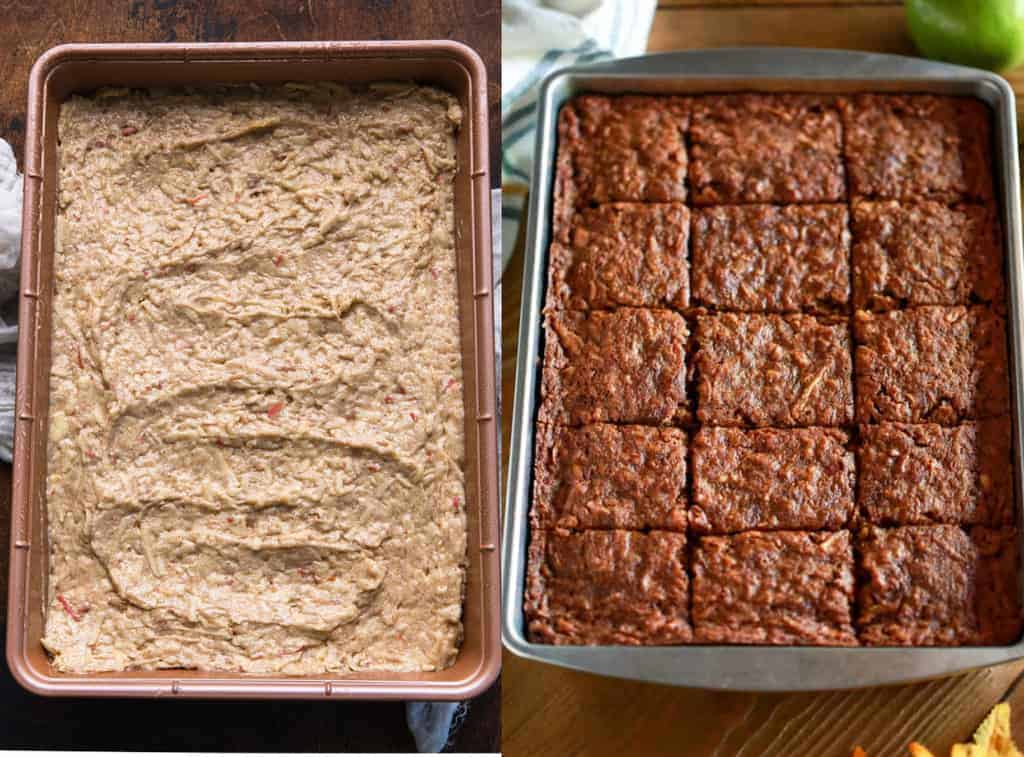 Before and after photos of apple cake baked in a 9x13'' pan.