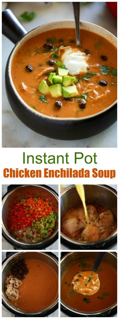 Instant Pot Chicken Enchilada Soup is made with carrots, celery, bell pepper, black beans, and spices.  This easy recipe packs a ton of flavor along with healthy protein and fiber.  #easy #instantpot #healthy #recipe #soup