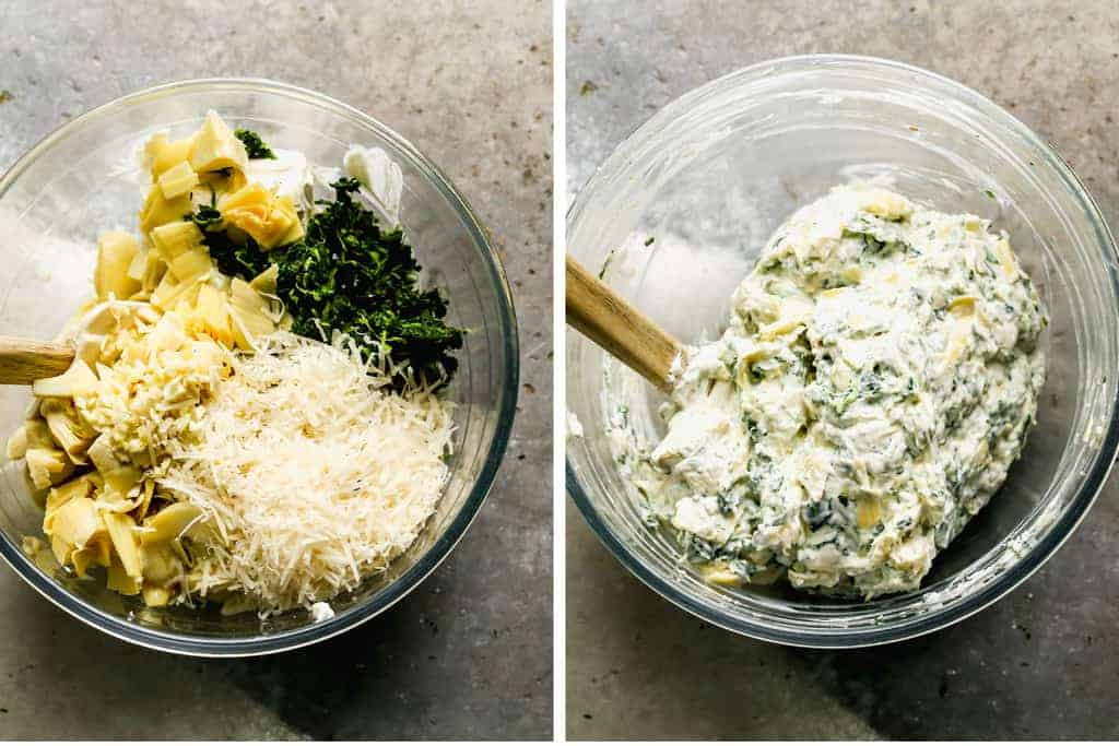 Two process photos of the ingredients for spinach artichoke dip added to a bowl, then mixed together.