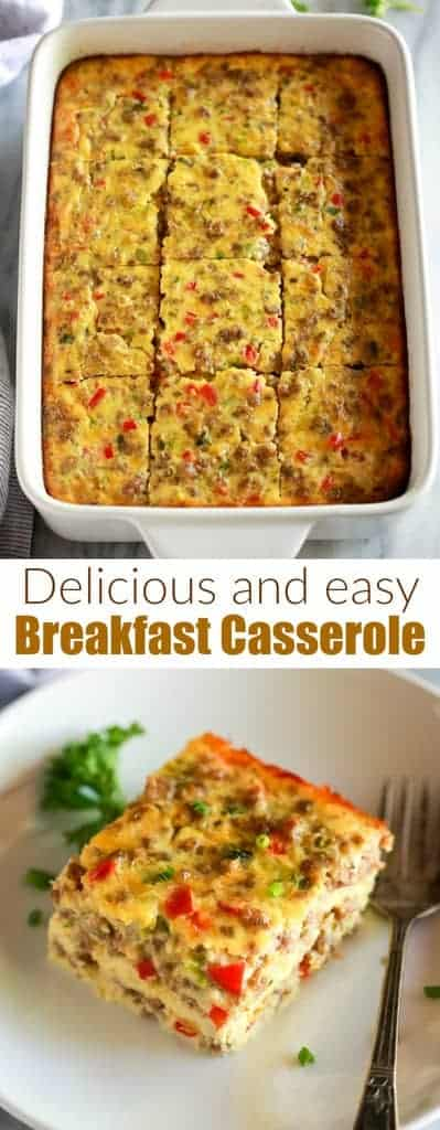 This easy Breakfast Casserole recipe is made with eggs, sausage, and cheese and only takes a few minutes to throw together. You can make it the day before, so it's the perfect breakfast casserole for Christmas morning or any day!  #easy #Christmas #breakfast #casserole #sausage #tastesbetterfromscratch