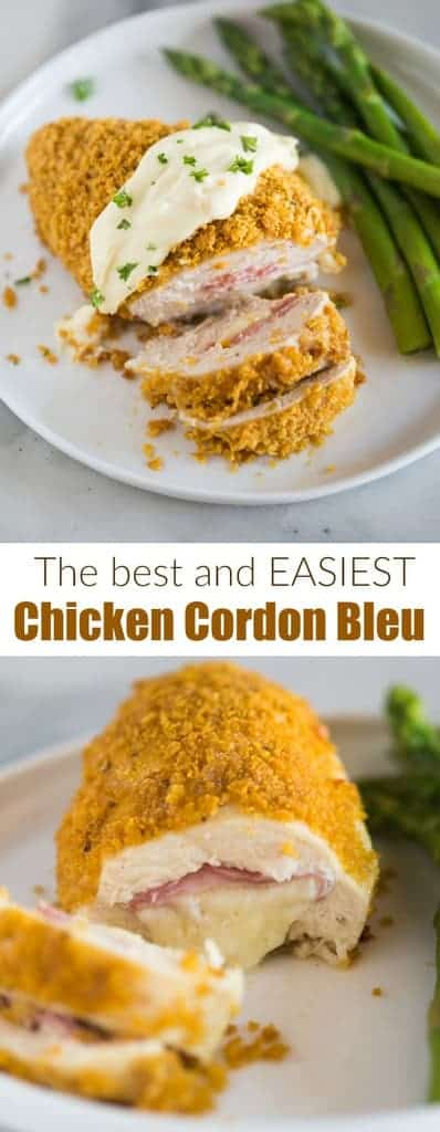 Chicken Cordon Bleu baked in the oven and topped with a delicious sauce. NO POUNDING CHKCKEN with this easy method!  #easy #recipe #sauce #baked #cordonbleu #chicken #sauce #tastesbetterfromscratch.com