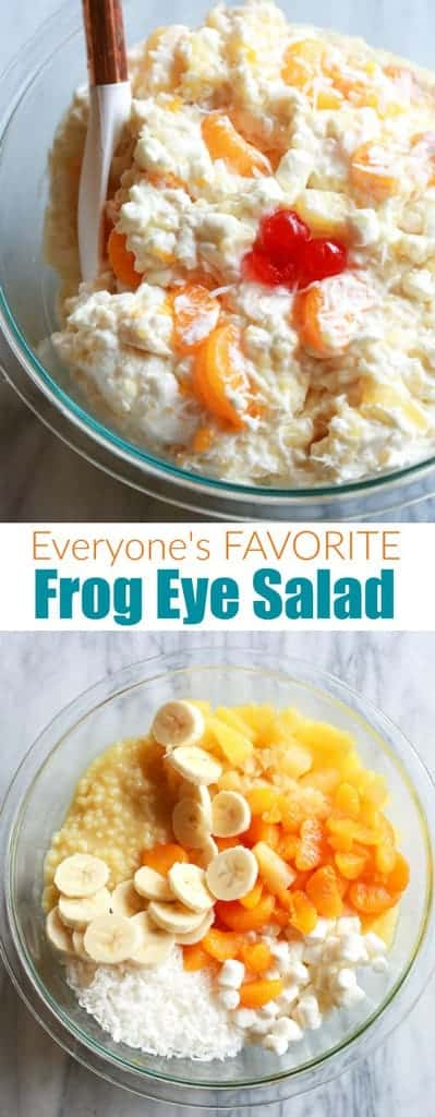 Creamy, fluffy, homemade Frog Eye Salad with acini de pepe, pineapple, coconut, mandarin oranges, marshmallows, and bananas. #easy #recipe #acinidepepe  #tastesbetterfromscratch.com