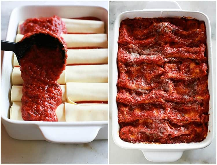 Side by side photos of a white casserole dish with red sauce being poured over cheese manicotti and an overhead photo of the baked pan of manicotti.