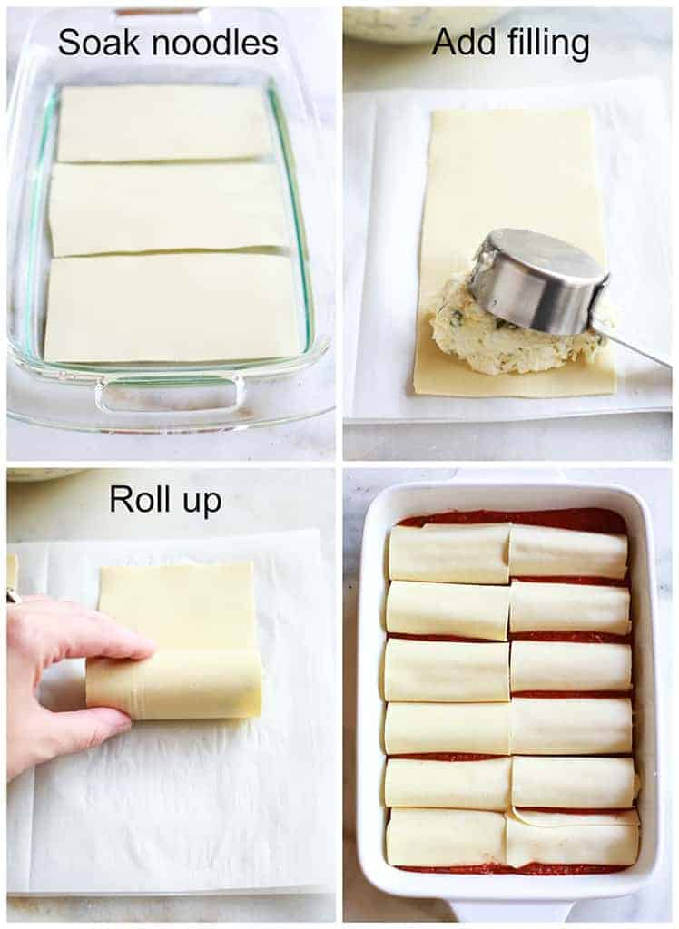 Four process photo for making manicotti, with text on the images showing to soak the noodles, add the cheese filling, roll them up and place in the pan.