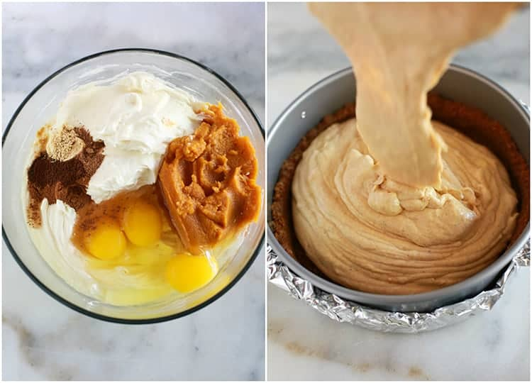 Overhead photo of a clear glass bowl with the ingredients to make pumpkin cheesecake, next to another photo of a springform pan with a gingersnap crust pressed in the bottom and pumpkin cheesecake batter being poured into the crust.
