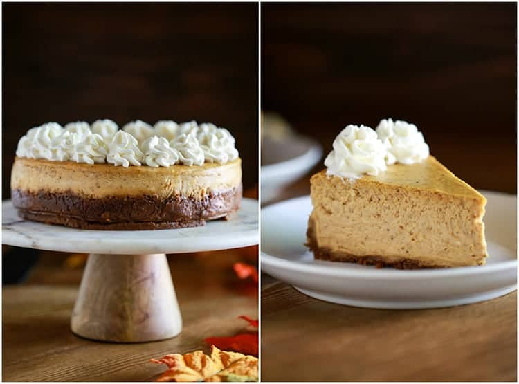 Side by side images of a whole pumpkin cheesecake on a cake stand and a slice of cheesecake on a white plate.
