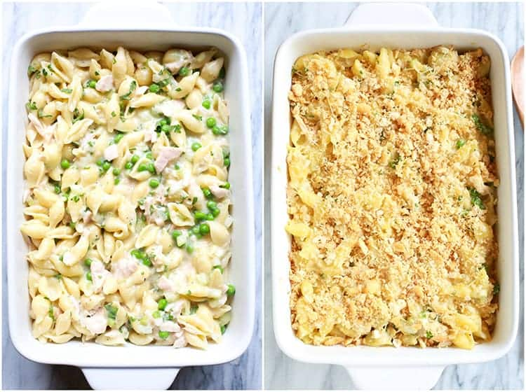 Two overhead photos of a white casserole dish with tuna noodle casserole in it, one without the cracker topping and the other of the casserole after it's been baked.