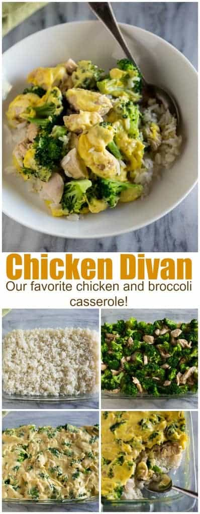 My family LOVES this Chicken Divancasserole made with rice, broccoli, chicken and a creamy curry sauce. It's a healthier version of the traditional chicken and broccoli casserole. #chickendivan #healthy #recipe #easy #tastesbetterfromscratch.com #dinner #rice #chicken #broccoli