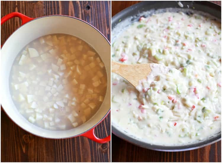 Process photos for making clam chowder including a photo of a soup pot with potatoes cooking in clam juice, and a photo of a saucepan with a cream vegetable base for clam chowder.
