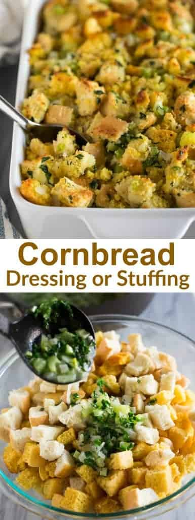 Cornbread dressing with vegetables and spices is just like traditional stuffing but made with a delicious cornbread recipe! | tastesbetterfromscratch.com #dressing #stuffing #thanksgiving #sides #cornbread #best #easy