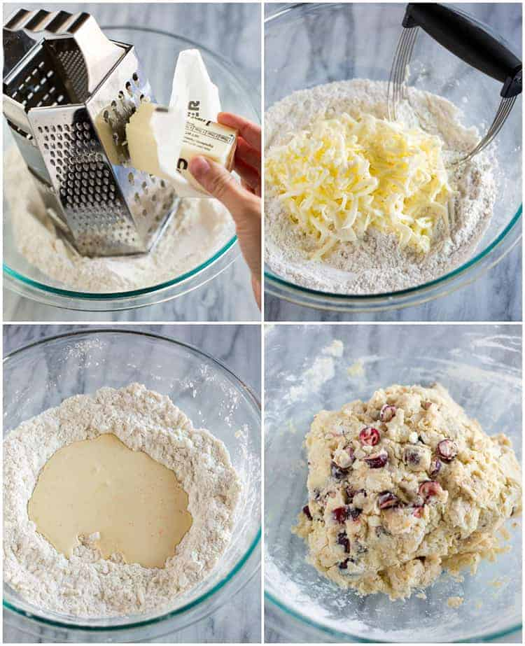 Process photos for making cranberry orange scones including grating frozen butter into a bowl with flour, mixing it together with the wet ingredients, and forming the dough into a ball.