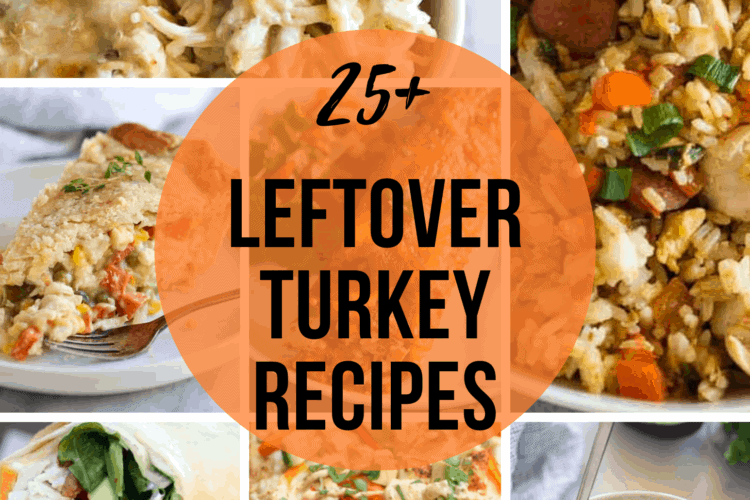a collage of several different dinner recipes using leftover turkey