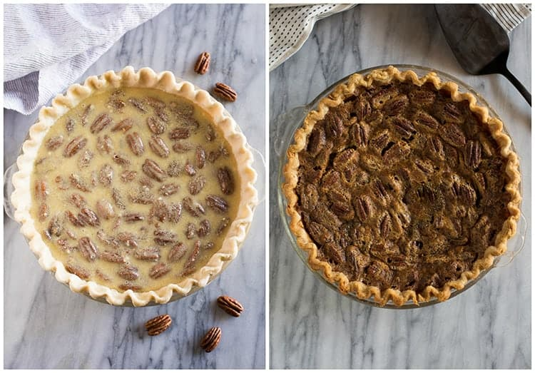 Before and after photos of pecan pie in a pie dish before it's been baked and after it has baked.