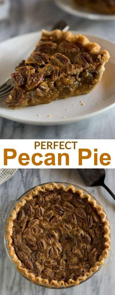 This easy Pecan Pie Recipe is so delicious it will convert even the biggest skeptics!  The caramel-like pie filling makes this pie one of my all-time favorites!  #recipe #easy #pie #thanksgiving #tastesbetterfromscratch.com