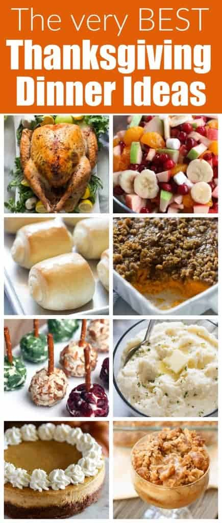 The ultimate list of Thanksgiving Dinner Ideas, side dishes, and dessert recipes.  This is my go-to list for Thanksgiving menu ideas.  It has everything from Thanksgiving turkey to mashed potatoes, sweet potato casserole, and all types of yummy pies! #thanksgiving #thanksgivingdinnerideas #thanksgivingsidedishes #thanksgivingdessert