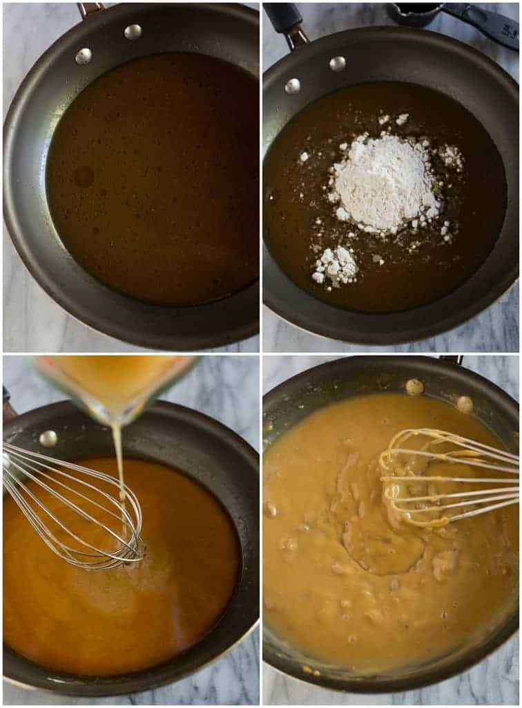 Step-by-step photos for making turkey gravy with turkey drippings, broth, flour and giblets.