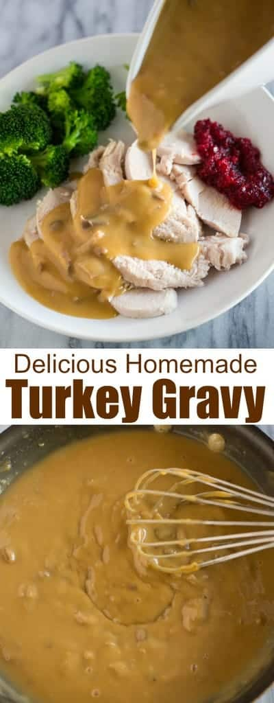Homemade Turkey Gravy is so easy and absolutely delicious. It's time to embrace those giblets stored inside your turkey and use the giblets to make this delicious from scratch giblet gravy recipe!  #fromdrippings #easy #recipe #withgiblets #gravy #turkey #thanksgiving #tastesbetterfromscratch.com