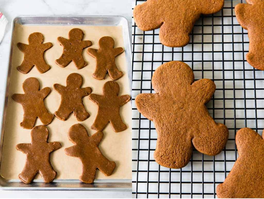 Gingerbread men cookies cut and placed on a baking sheet, then baked.
