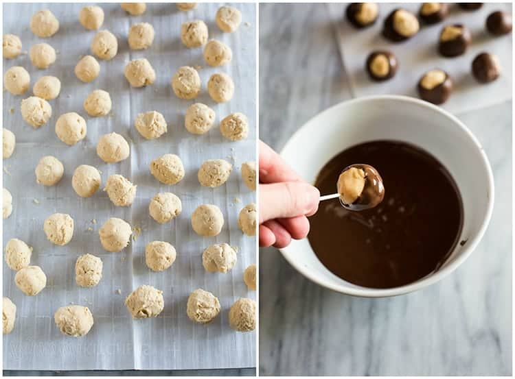 Process photos for making peanut butter balls (buckeyes) including the peanut butter filling rolled into balls on a tray and then being dipped into melted chocolate using a toothpick.